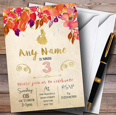 Fall Birthday Invitations (Autumn Gold Princess Childrens Birthday Party)
