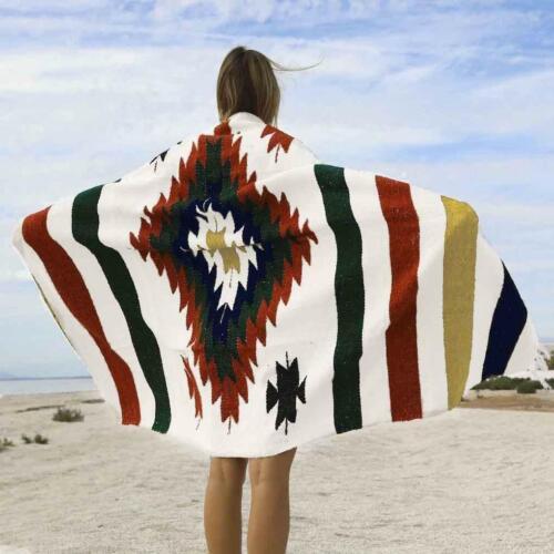 Mexican Blanket Vintage Baja Style XL Diamond Ivory White Blue Green Red Yoga