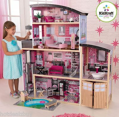 30Pcs Barbie Size Wooden Dollhouse Furniture Girl Playhouse Doll Play House Gift