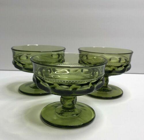 Vintage Glass Set of 3 Olive Green Indiana Kings Crown Pattern Sorbet Champagne