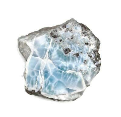 PARTIALLY  POLISHED 144 G  NICE  DOMINICAN   BLUE LARIMAR  ROUGH STONE