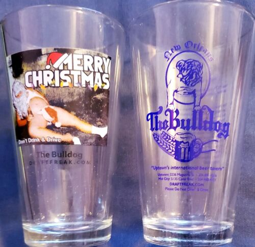 "Awesome Pair of 6"" Tall Pint Souvenir Drink Glasses The Bulldog New Orleans"