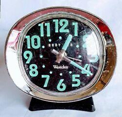 Aqua! ~ Westclox Baby Ben Wind Up Alarm Clock Vintage Works ~ GLOWS IN THE DARK!