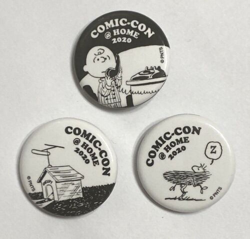 """Peanuts 2020 SDCC @ Home Promo Button 1.25"""" Complete Set of 3 Charlie Woodstock+"""