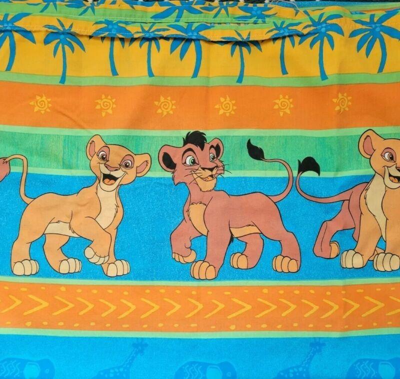 Vtg Disney Lion King Twin Size Bedding Set Flat Sheet & Pillowcase Retired Print