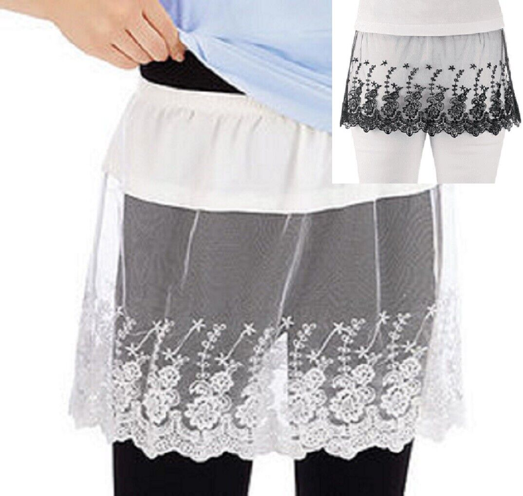 Lace Shirt Extender Easily Slips on with Elasticized Waist Floral White or Black Clothing, Shoes & Accessories