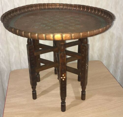 Middle Eastern Hammered Copper Tray Table w/ Carved Wood Folding Stand