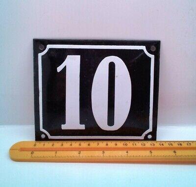 VINTAGE FRENCH ENAMEL Concave HOUSE NUMBER 10 Ten DOOR Black METAL SIGN