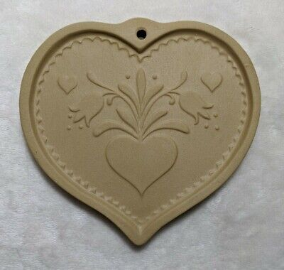 Brown Bag Cookie Art Mold Tulips / Hearts -Hill Designs 1986 Vintage 6x6 -Spring