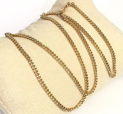 18k Solid Yellow Gold Italian Flat Curb/ Link Chain Necklace, 20Inches. 3.95Gr