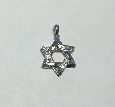 Brand New 14 Karat White Gold Genuine Diamond Star of David Cross Pendant
