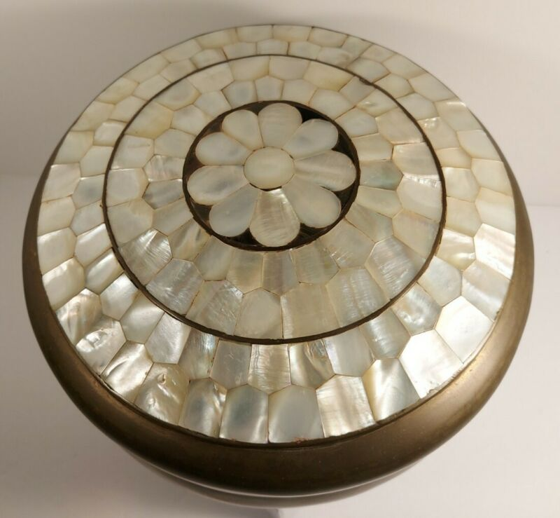 Large Lidded Brass Bowl With Mother Of Pearl Inlay Flower