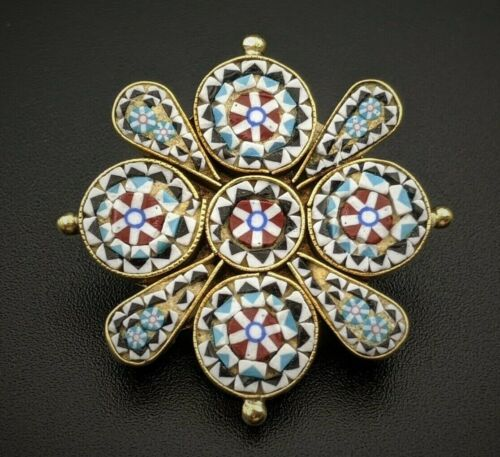 Victorian Micro Mosaic Brooch Pin, Italy, Grand Tour Antique