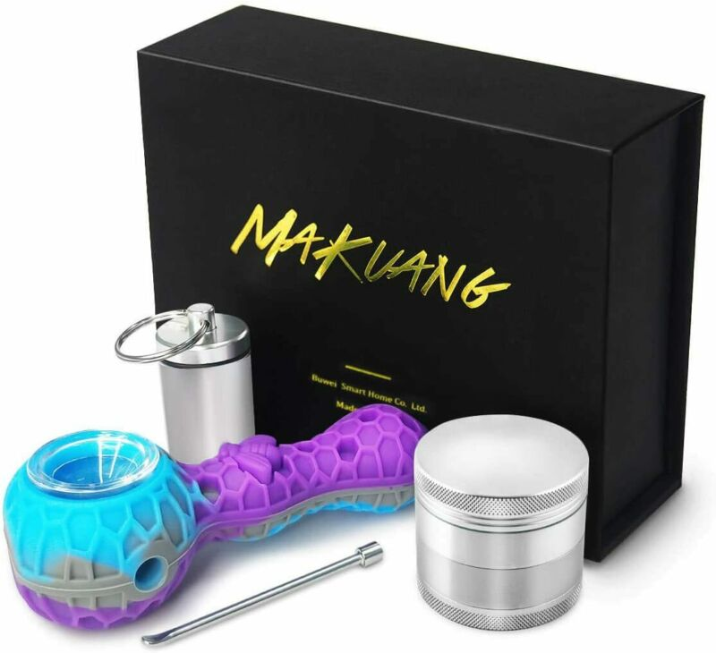 """4.3"""" SILICONE SMOKING PIPE W/ GLASS BOWL,STASH BOX AND TOOL, US SELLER Grinder"""