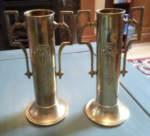 Art Nouveau Two Handled Brass Vases - Matching Pair - good used condition xxx