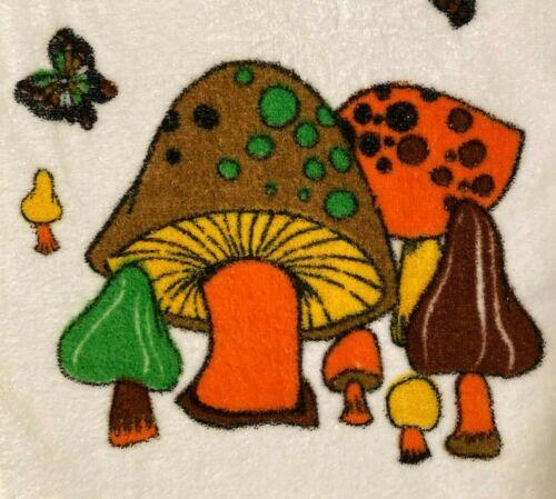 Vintage mushroom hand towel 1970s orange brown green, fringe