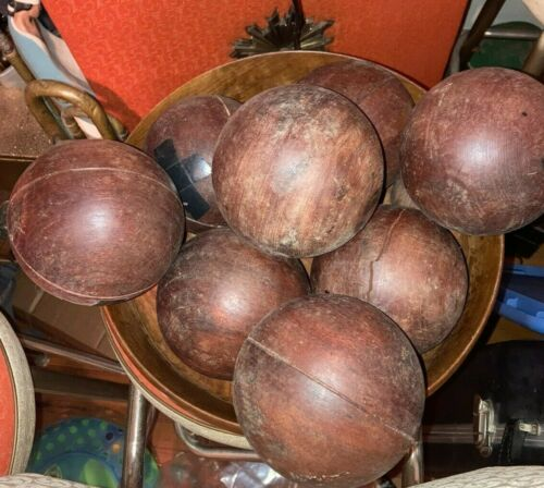 Vintage Wood Bocce Ball  lot of 8 balls and 1 jack ball antique