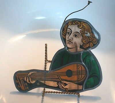 BEAUTIFUL ANTIQUE STAINED GLASS FIGURE WITH MUSICAL INSTRUMENT