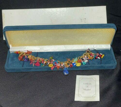 Ultimate Disney Charm Bracelet 37 Charms 24kt GP ~ Bradford Exchange with Box