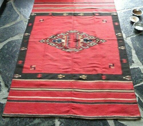 Pre-1935 Texcoco Mexican Textile Blanket Rug, 2 part loom