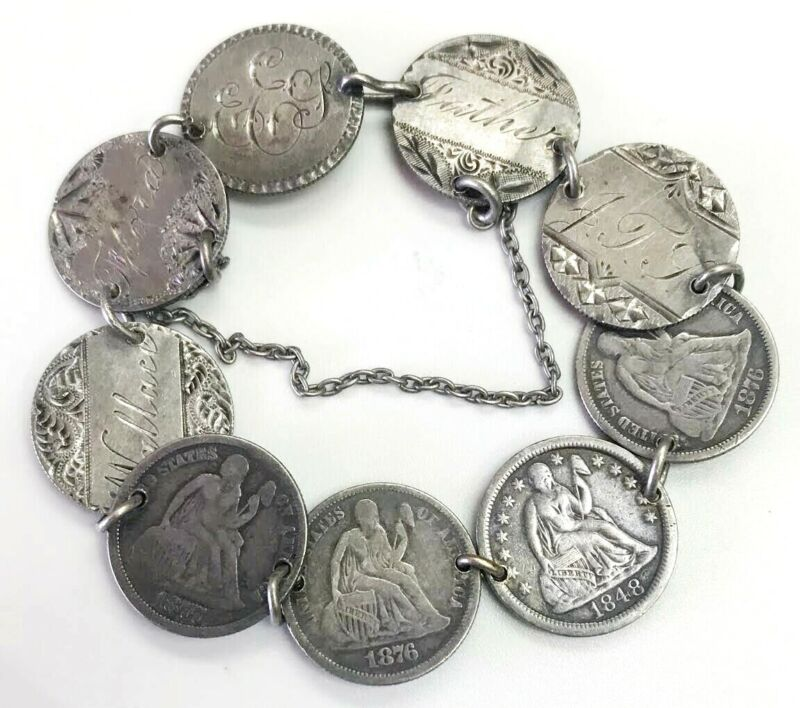 VICTORIAN ERA SILVER US LIBERTY SEATED DIME HAND ENGRAVED 9 LOVE TOKENS BRACELET