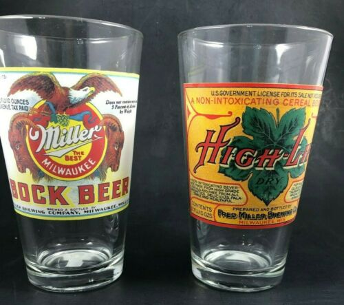 "Milwaukee Miller Bock Beer High Life Pint Glass Set of 2 Lot VTG 6"" Tall 16 oz."