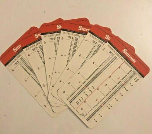 VTG Lot of 6 NOS STARRETT decimal equivalents & tap drill sizes - Pocket Card