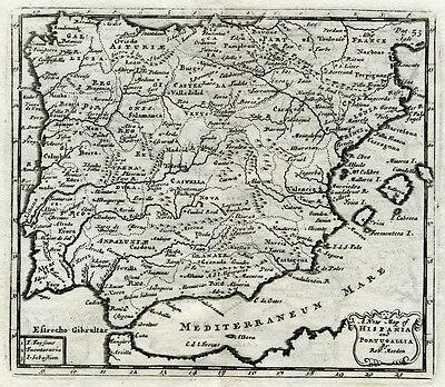1711 Genuine Antique map Spain & Portugal.