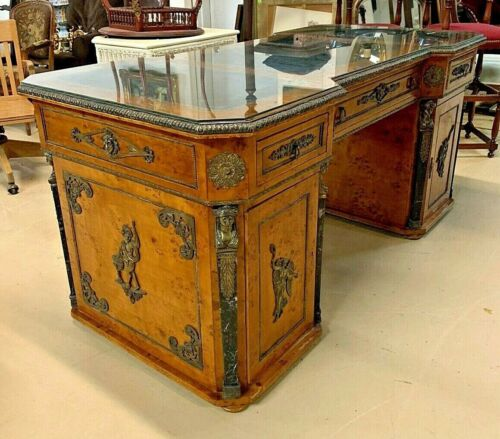 French Louis XV Style Burled Maple Desk Ormolu Napoleon Empire Directoire