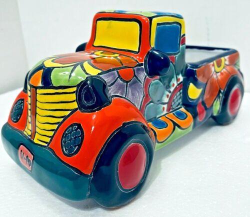 """Talavera Truck Planter Pot Mexican Art Pottery Car 12"""""""