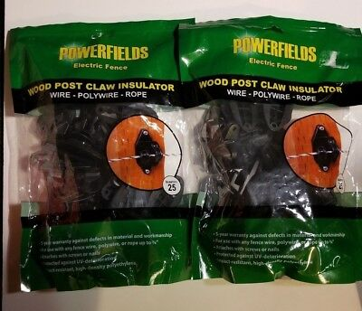 Powerfields Wood Post Claw Insulator 2 Pack 25 Ct Ea 50 Total Black Ships Fast