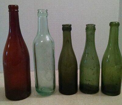 Vintage Antique Beer Soda Glass Bottles SB & G Co. and 4 unmarked bottles
