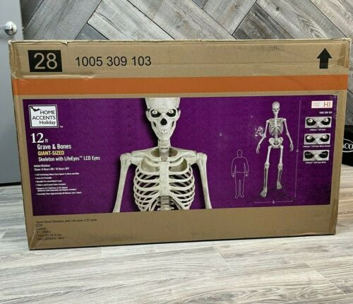 💀💥 Giant 12 FT Skeleton W/ Animated LCD Eyes SOLD OUT Halloween HomeDepot 💥