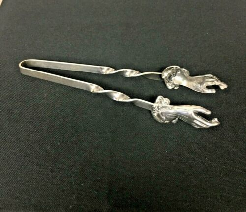 Sterling Tongs Extremely Unusual With Hand Grips