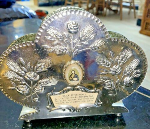 Vintage RELIGIOUS  Rose Napkin Holder Silver Plated  Floral  CCC1