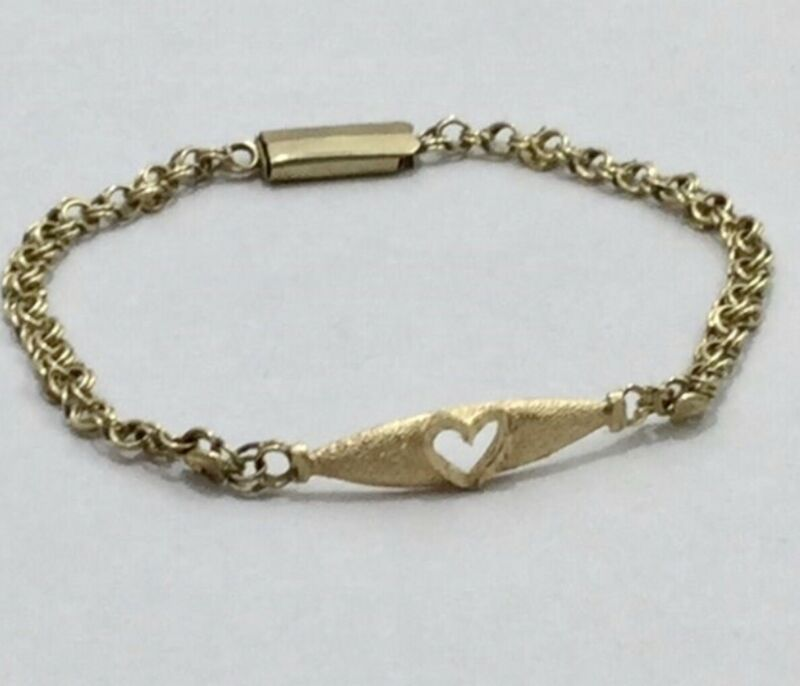 14K GOLD 3 Grams Crafted VINTAGE HEART BAR LINKS BRACELET 51/2""