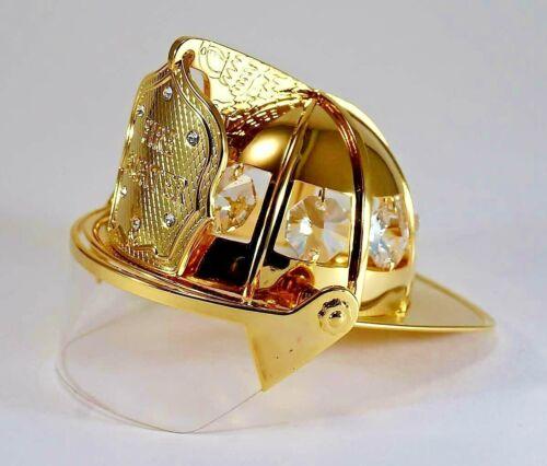 Firefighter 24-K Gold Plated & Austrian Crystal Mini Fire Fighter Helmet New
