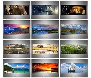 XXL Wanduhr Küchenuhr Uhr Leinwandbild Wandbild Motivuhr Tiere Autos Landschaft
