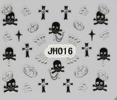 Halloween Black Skull Cross Silver Rhinestons Crowns 3D Nail Arts Sticker Decals