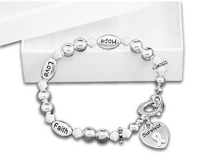 Ribbon Awareness (White Ribbon Survivor Bracelet Lung Cancer Support Awareness Faith Hope)