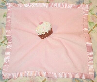 BABY ESSENTIALS CUPCAKE PINK RATTLE LOVEY BLANKET VELVET SOFT SILK LINED EUC for sale  Shipping to India