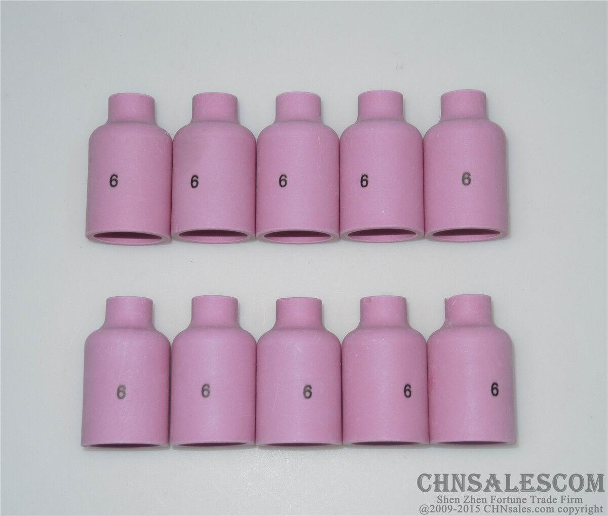 "10 pcs 6#  54N16 Alumina Nozzle Gas Lens Cups for WP-17 WP-18 WP-26 9.5mm 3//8/"""
