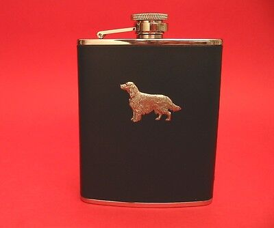 Irish Setter 6oz Black Leather Hip Flask Boxed Pet Father's Christmas Gift
