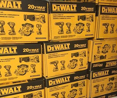 DEWALT DCK520D2 20-Volt Max Lithium-Ion Cordless Combo Kit (5-Tool) Brand NEW