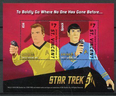 Union Island Gren St Vincent 2016 MNH Star Trek 50th 2v S/S Spock Kirk Stamps