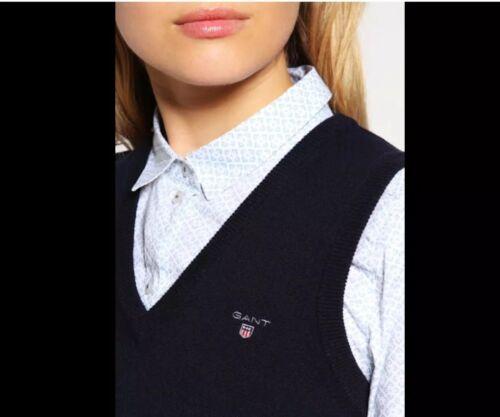 Gant Damen Pullunder Gr. L Blau, V-Ausschnitt , Lambswool, Klassiker