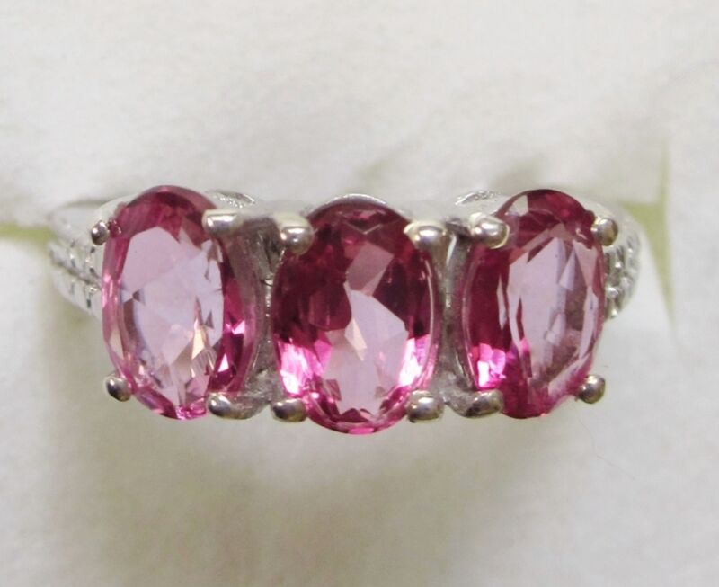 Pink Topaz Three-Stone Ring in 925 Sterling Silver sz 5   ---   2.65cts