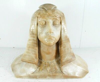 "ART DECO CARVED ALABASTER BUST OF ""PHAROAH"" ORIGINAL FINISH, C1920'S"