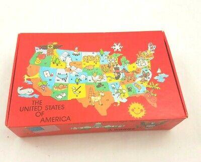 Vtg General Box Co School Pencil Box 60s 70s United States Of America Map  - Map Pencils