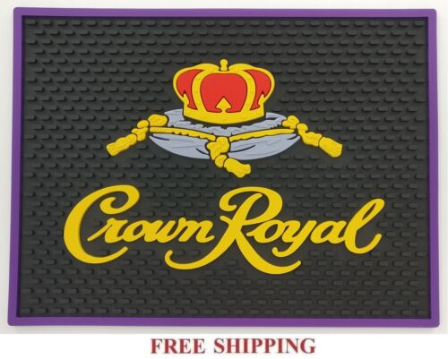 CROWN ROYAL CANADIAN WHISKY BLACK BAR MAT SPILL MAT RUBBER COASTER NEW
